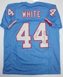 Lorenzo White Autographed Blue Pro Style Jersey with Run N Shoot- JSA Witness Authenticated