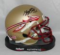 Kelvin Benjamin Autographed Florida State Seminoles Gold Mini Helmet- Beckett Auth