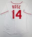 Pete Rose Autographed White Cincinnati Reds Cooperstown Jersey W/ Hit King - JSA W Auth