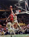 Larry Bird/Julius Erving Autographed 16x20 Dunking Photo- JSA Witness Authenticated