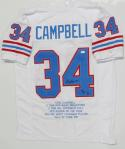 Earl Campbell Autographed White Pro Style Stat1 Jersey With HOF- JSA W Auth
