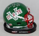 Jerry Rice Autographed Mississippi Valley Green Schutt Mini Helmet- Beckett Auth