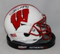 JJ Watt Signed Wisconsin Badgers White Schutt Mini Helmet JSA W/ Holo Auth *Top