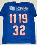 Pony Express Dickerson, James & McIlhenny Autographed Blue Jersey- JSA