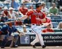 Chipper Jones Autographed Atlanta Braves 16x20 Swinging In Red Photo- JSA W Auth