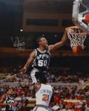 David Robinson Autographed 16x20 Dunking Over Wilkins Photo- TriStar Auth