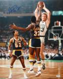 Magic Johnson Autographed 16x20 In Air Against Larry Bird Photo- PSA/DNA Auth