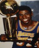 Magic Johnson Autographed 16x20 With Trophy Photo- PSA/DNA Authenticated