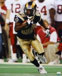 Isaac Bruce Autographed Rams 16x20 Vertical Running Black Jersey Photo- JSA Auth
