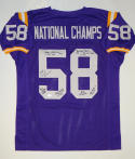 58' National Champs Autographed Purple W/ Yellow Jersey- JSA Auth
