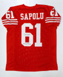 Jesse Sapolu SB Champs Signed / Autographed Red Pro Style Jersey- JSA W Auth