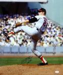 Jim Palmer Autographed 16x20 Orioles Pitching *Blue Photo- JSA Authenticated