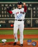 Jon Lester Autographed 8x10 Red Sox Vertical Cheering Photo- JSA Authenticated