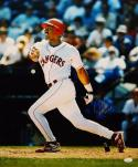 Juan Gonzalez Autographed 16x20 Watching Hit Photo W/ 2 AL MVP- JSA Auth