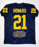 Desmond Howard Autographed Navy Blue College Style Stat Jersey- JSA Auth