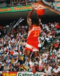 Dominique Wilkins Autographed 16x20 Back View Dunking Photo- JSA Authenticated