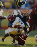 Jadeveon Clowney Autographed 16x20 Michigan Hit Vertical Photo- JSA W Auth