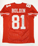 Anquan Boldin Autographed Red Pro Style Jersey- JSA W Auth