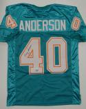 Dick Anderson Signed / Autographed Teal Pro Style Jersey- JSA Authenticated