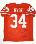 Carlos Hyde Autographed Red College Style Jersey- JSA W Auth