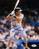 Jose Canseco 462 HRS Autographed 8x10 Vertical Batting *Blue Photo- JSA Auth