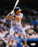 Jose Canseco 88 AL MVP Autographed 8x10 Batting Stance *Blue Photo- JSA Auth