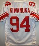 Mathias Kiwanuka SB Champs Autographed White Pro Style Jersey- JSA Auth