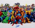 Stan Lee Autographed 16x20 Marvel Characters White Border Photo- JSA Auth