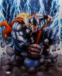 Stan Lee Autographed 16x20 Cartoon Thor Photo- JSA Witness Authenticated