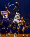 Earl Monroe Autographed NY Knicks 16x20 Shot Over Chamberlain Photo- JSA W Auth