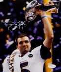Joe Flacco Autographed Baltimore Ravens 8x10 Holding Trophy Photo- JSA Auth