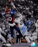 Emmanuel Sanders Autographed Broncos 8x10 Reaching For The Ball PF. Photo-JSA W Auth