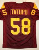 Lofa Tatupu Autographed Maroon Jersey- JSA Authenticated