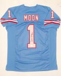 Warren Moon Autographed Blue Pro Style Jersey W/ HOF- JSA W Authenticated