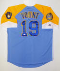 Robin Yount Autographed Milwaukee Brewers Blue W/ Yellow Jersey- JSA Auth