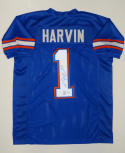 Percy Harvin Autographed Blue W/ Red College Style Jersey- JSA Auth