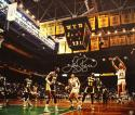Larry Bird Autographed 20x24 Against Lakers Canvas- Larry Bird Hologram