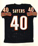 Gale Sayers Autographed Blue Pro Style Jersey Inscribed with HOF- JSA Authenticated