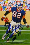 Michael Strahan HOF Autographed New York Giants Goal Line Art Card- JSA W Auth