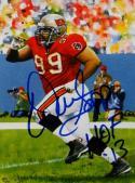Warren Sapp HOF Autographed Tampa Bay Buccaneers Goal Line Art Card- JSA Auth