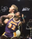 Larry Bird Magic Johnson Autographed 16x20 Up Close Photo- PSA/DNA Authenticated
