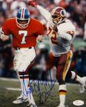 Dexter Manley Autographed 8x10 Redskins Against Broncos Photo with JSA W Auth