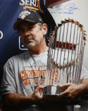 Bruce Bochy Autographed 16x20 With WS Trophy Photo- JSA W Authenticated