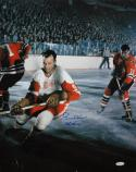 Gordie Howe Autographed 16x20 Dark Vertical On Ice Photo- JSA W Authenticated
