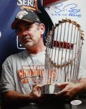 Bruce Bochy 'WS Champs' Autographed 8x10 Holding WS Trophy Photo- JSA Auth