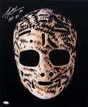 Gerry Cheevers HOF Autographed 16x20 Mask Photo- JSA W Authenticated
