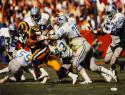 Eric Dickerson HOF Autographed 16x20 Being Tackled By Lions Photo- JSA W Auth