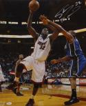 Shaquille O'Neal Autographed 16x20 Miami Heat Against Bucks Photo- JSA Auth