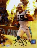 Luke Kuechly Autographed Carolina Panthers 8x10 Fire PF Photo- Beckett Auth