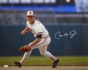 Cal Ripken Jr Autographed 16x20 Fielding *White/Right Photo- JSA Witness Auth